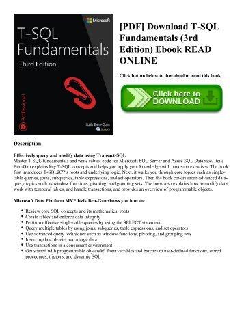 [PDF] Download T-SQL Fundamentals (3rd Edition) Ebook READ ONLINE