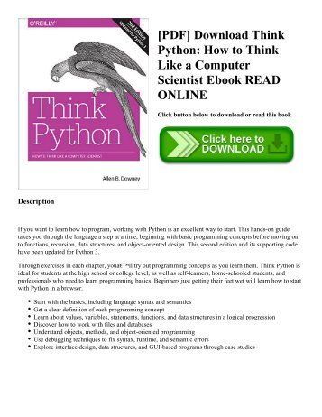 [PDF] Download Think Python: How to Think Like a Computer Scientist Ebook READ ONLINE