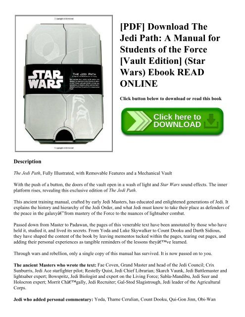 Pdf Download The Jedi Path A Manual For Students Of The Force Vault Edition Star Wars