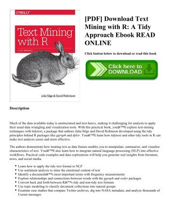 [PDF] Download Text Mining with R: A Tidy Approach Ebook READ ONLINE
