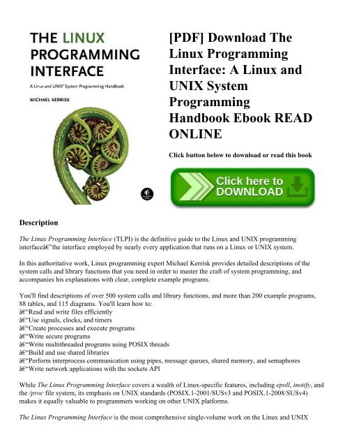 Pdf Download The Linux Programming Interface A Linux And Unix