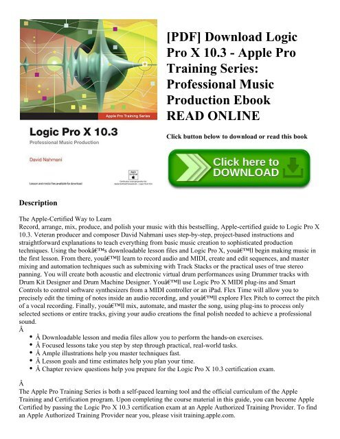 PDF] Download Logic Pro X 10 3 - Apple Pro Training Series