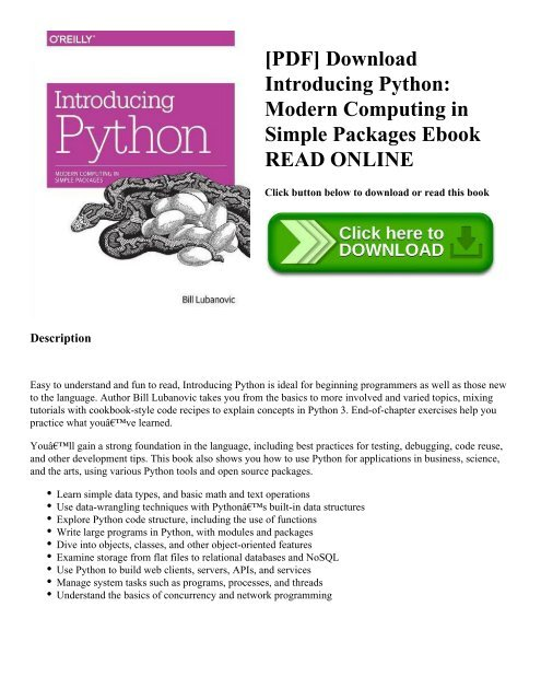 PDF] Download Introducing Python: Modern Computing in Simple