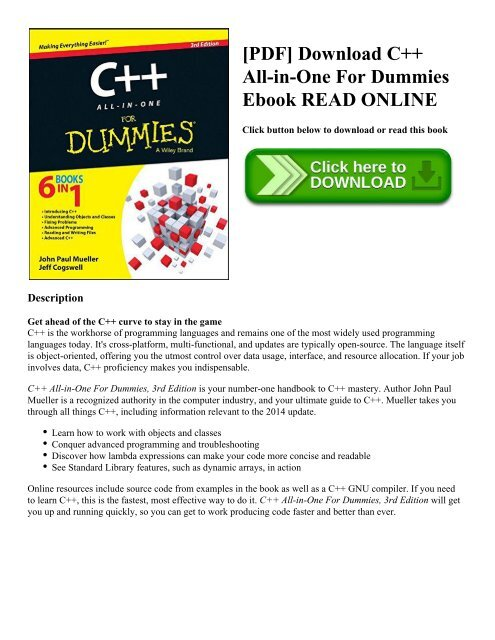 PDF] Download C++ All-in-One For Dummies Ebook READ ONLINE