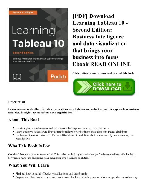 PDF] Download Learning Tableau 10 - Second Edition: Business