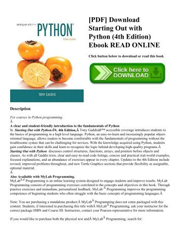 [PDF] Download Starting Out with Python (4th Edition) Ebook READ ONLINE