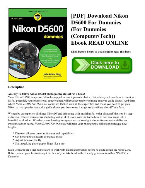 PDF] Download Nikon D5600 For Dummies (For Dummies (Computer/Tech