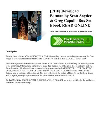 [PDF] Download Batman by Scott Snyder & Greg Capullo Box Set Ebook READ ONLINE