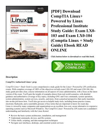 [PDF] Download CompTIA Linux+ Powered by Linux Professional Institute Study Guide: Exam LX0-103 and Exam LX0-104 (Comptia Linux + Study Guide) Ebook READ ONLINE