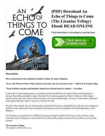 [PDF] Download An Echo of Things to Come (The Licanius Trilogy) Ebook READ ONLINE