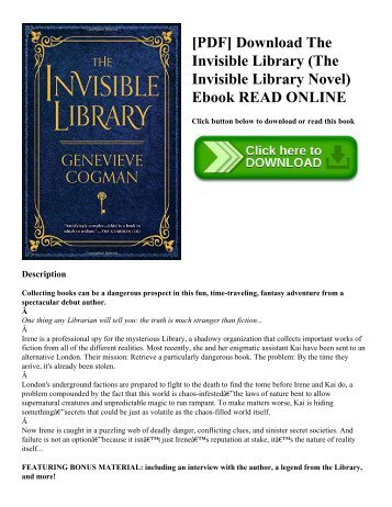 [PDF] Download The Invisible Library (The Invisible Library Novel) Ebook READ ONLINE