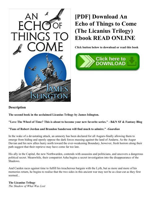 PDF] Download An Echo of Things to Come (The Licanius Trilogy) Ebook