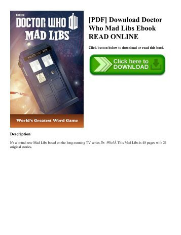 [PDF] Download Doctor Who Mad Libs Ebook READ ONLINE