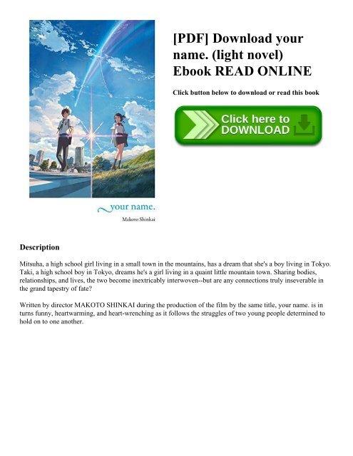 Pdf Download Your Name Light Novel Ebook Read Online