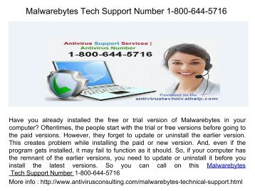Malwarebytes Tech Support Number 1-800-644-5716