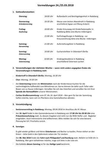 Vermeldungen KW13/18