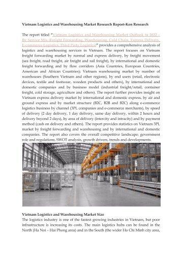 Value Added Services in Vietnam, Warehousing Market Size Vietnam- Ken Research