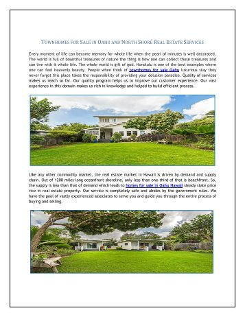 Townhomes for Sale in Oahu and North Shore Real Estate Services