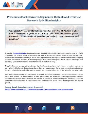 Proteomics Market Growth, Segmented Outlook And Overview Research By Million Insights