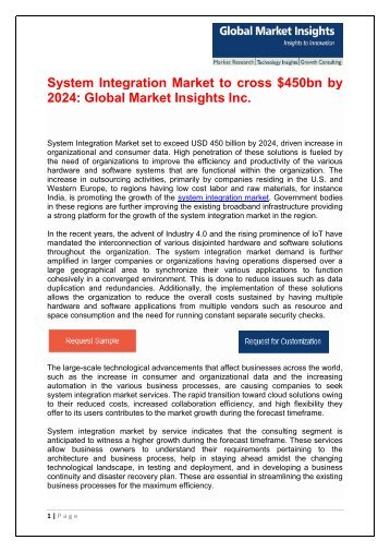 System Integration Market – Growth Opportunities and Challenges 2017-2024