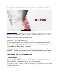Things You Should Know About Hip Replacement