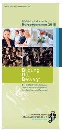 Kursprogramm BDB-Musikakademie 2018