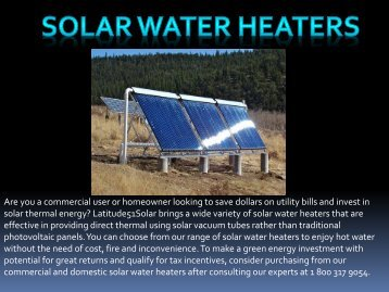 Solar Water Heaters at Latitude51 Solar