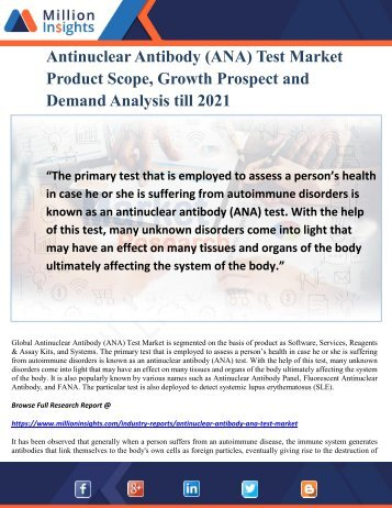 Antinuclear Antibody (ANA) Test Market Product Scope, Growth Prospect and Demand Analysis till 2021