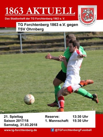 "Stadionheft ""1863 Aktuell"" TGF - TSV Ohrnberg 31.03.2018"