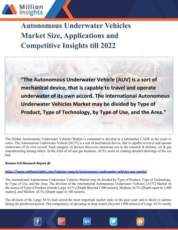 Autonomous Underwater Vehicles Market Size, Applications and Competitive Insights till 2022
