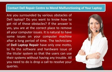 Contact Dell Repair Centre to Mend Malfunctioning of Your Laptop