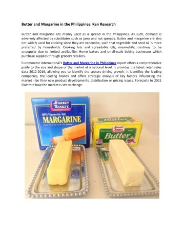 Philippines Butter and Margarine Market Revenue, Market Size, Market Future Outlook-Ken Research