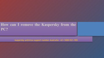 How can I remove the Kaspersky from the PC
