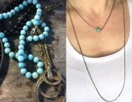 teal bead two brass chain