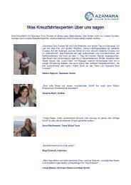 Was Kreuzfahrtexperten über uns sagen - Azamara Club Cruises