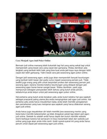 Cara Menjadi Agen Judi Poker Online