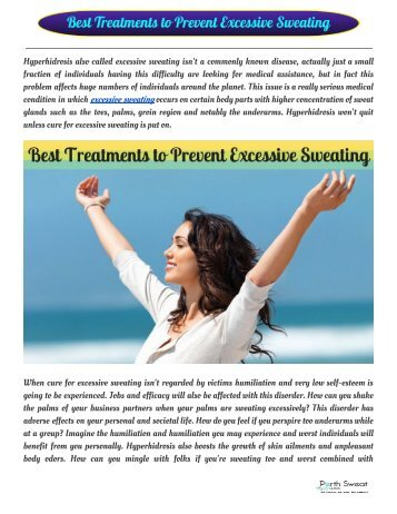 Best Treatments to Prevent Excessive Sweating