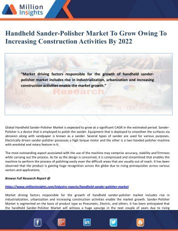 Handheld Sander-Polisher Market To Grow Owing To Increasing Construction Activities By 2022