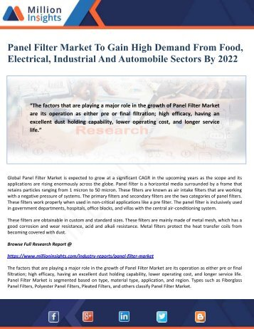 Panel Filter Market To Gain High Demand From Food, Electrical, Industrial And Automobile Sectors By 2022