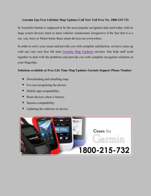Garmin FREE Lifetime Maps updates Australia Call Toll Free