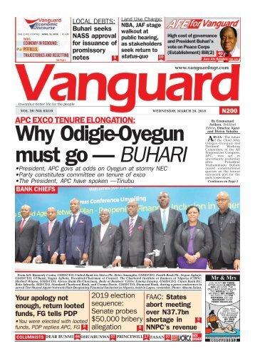 28032018 - APC EXCO TENURE ELONGATION: Why Odigie-Oyegun must go — BUHARI