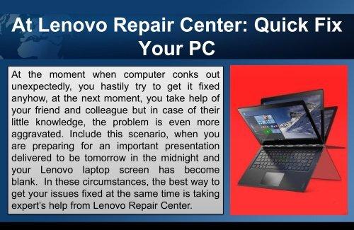 At Lenovo Repair Center: Quick Fix Your PC
