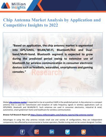 Chip Antenna Market Analysis by Application and Competitive Insights to 2022