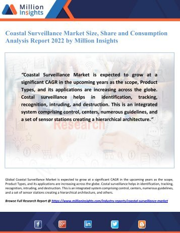Coastal Surveillance Market Size, Share and Consumption Analysis Report 2022 by Million Insights