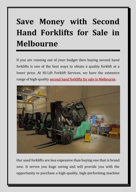 Second Hand forklifts for Sale Melbourne - Hi-Lift Forklift Services