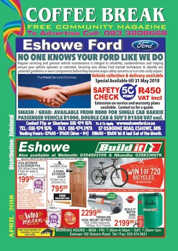Coffee Break Magazine, April 2018 Edition, Eshowe, Kwa-Zulu Natal, South Africa