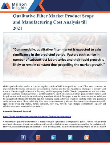 Qualitative Filter Market Product Scope and Manufacturing Cost Analysis till 2021
