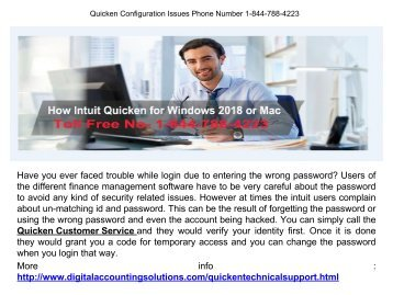 Quicken Help Line Number 1-844-788-4223