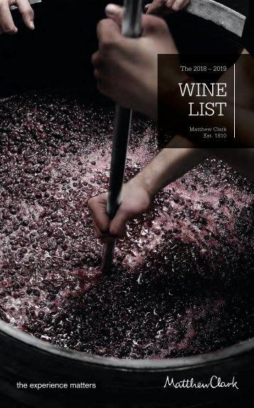 Matthew Clark Wine List 2018 – 2019