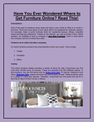 Have You Ever Wondered Where to Get Furniture Online